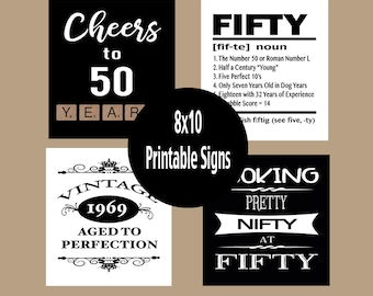 photo about Free Printable 50th Birthday Signs called 50th birthday occasion Etsy
