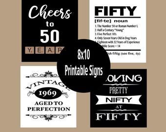 50th Birthday Decorations 50th Birthday Poster Hippie Etsy