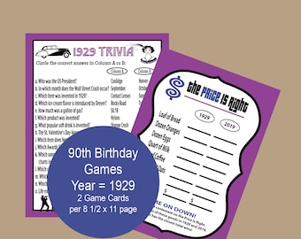 90th Birthday Party Games Adult 1929 Trivia Game 90 Years Facts About Ninety Instant Download