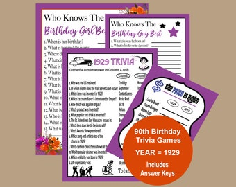 1929 Birthday Party Games Adult 90th Trivia Game 90 Who Knows The Girl Or Guy Best Instant Download