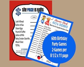 60th birthday games etsy