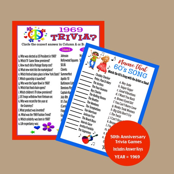 50th Birthday Party Games.50th Anniversary Party Games Adult Party Games 50th Trivia Game 1969 Anniversary Games Hippie Games Retro Games Instant Download