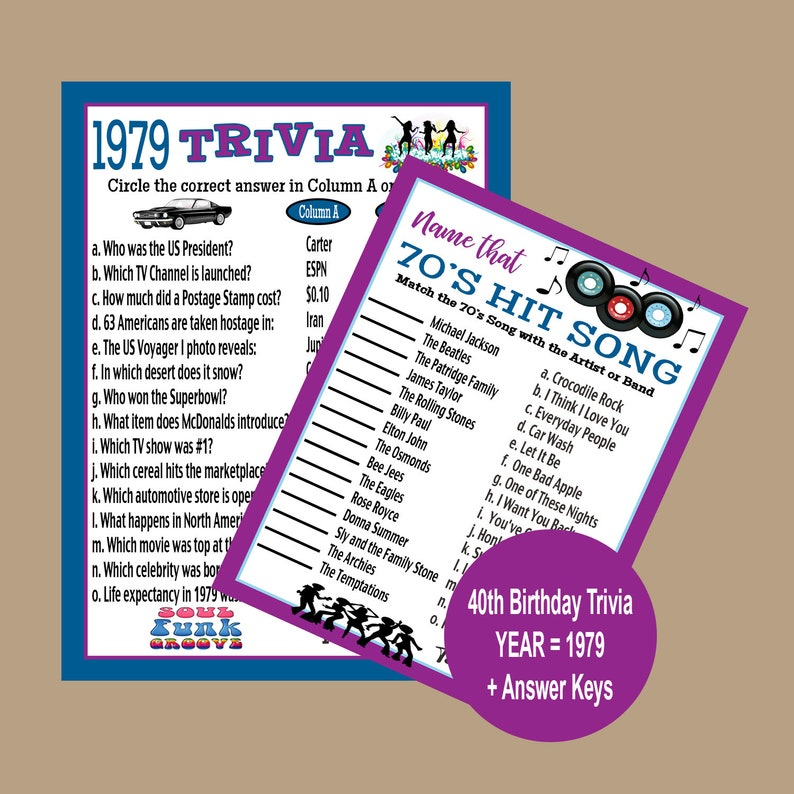 graphic about Printable Adult Games titled 40th Birthday Celebration Game titles Printable, Grownup Social gathering Online games, 1979 Birthday Trivia Recreation, 70s Get together Trivia, Disco Occasion Online games, Quick Obtain