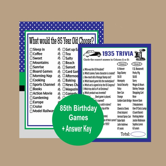 85th Birthday Party Games 1935 Trivia Birthday Games 85th Etsy