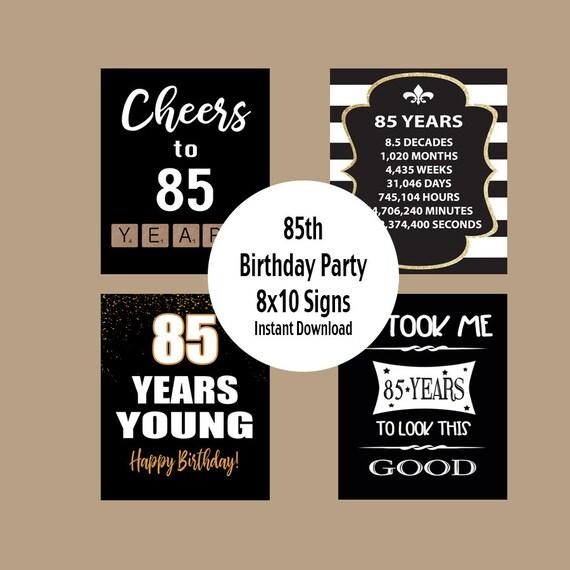 85th birthday sign 85th birthday poster 85th birthday etsy