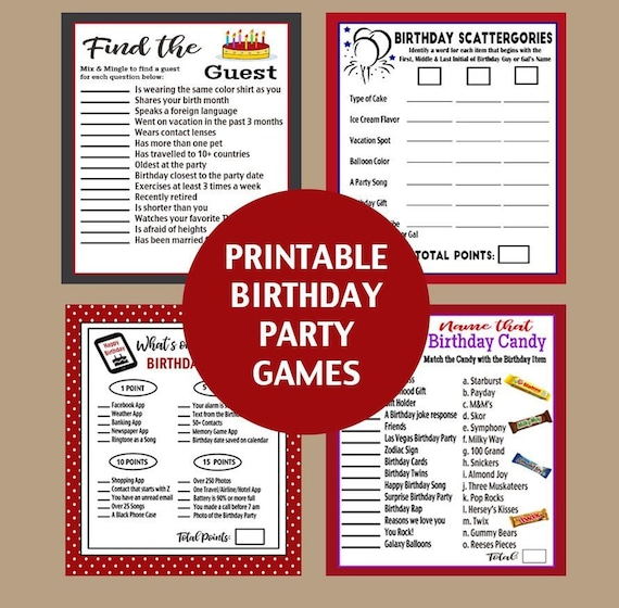 Birthday Party Games, Adult Birthday Party Printable Games, What's On Your  Phone, Find the Guest Game, Birthday Scattegories Printable