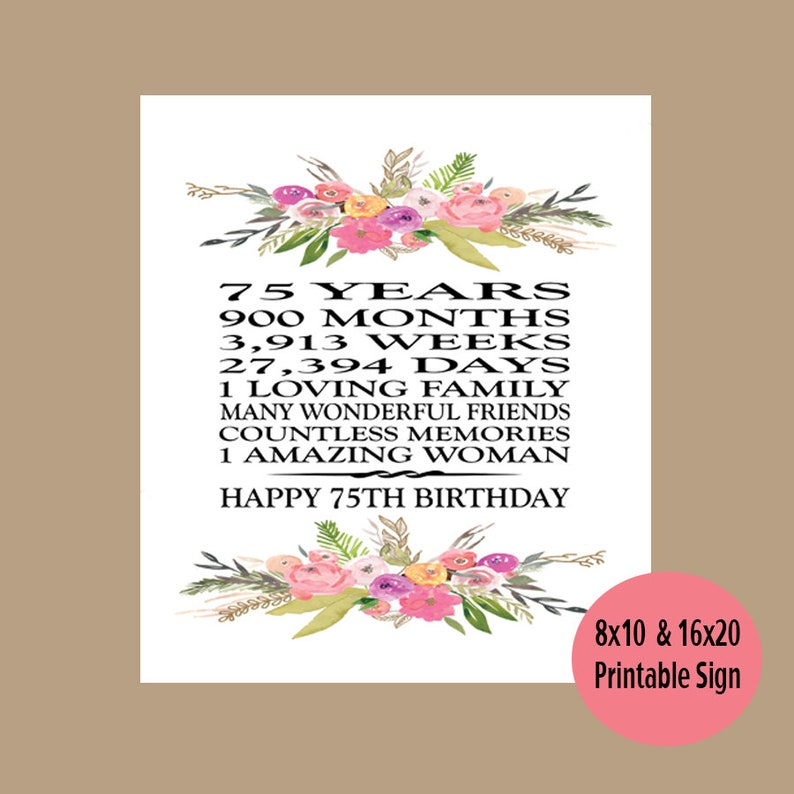 75th Birthday Gift Printable