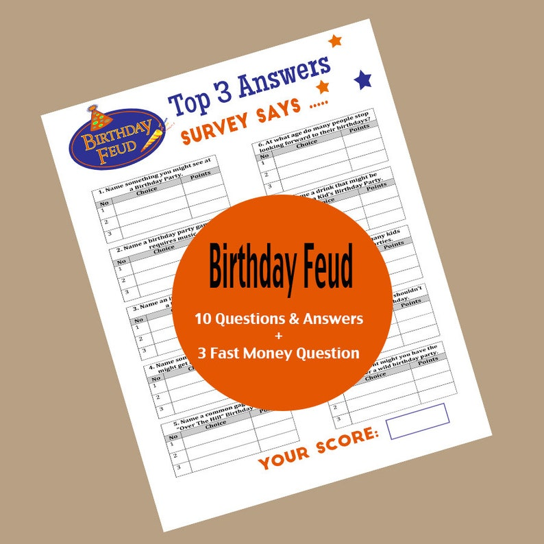 graphic regarding Family Feud Printable named Birthday Spouse and children Feud Recreation, Family members Feud Video game, Birthday Trivia, Thoughts  Solutions, Printable Sport, Local community Recreation, 65th, 70th 75th Birthday Match