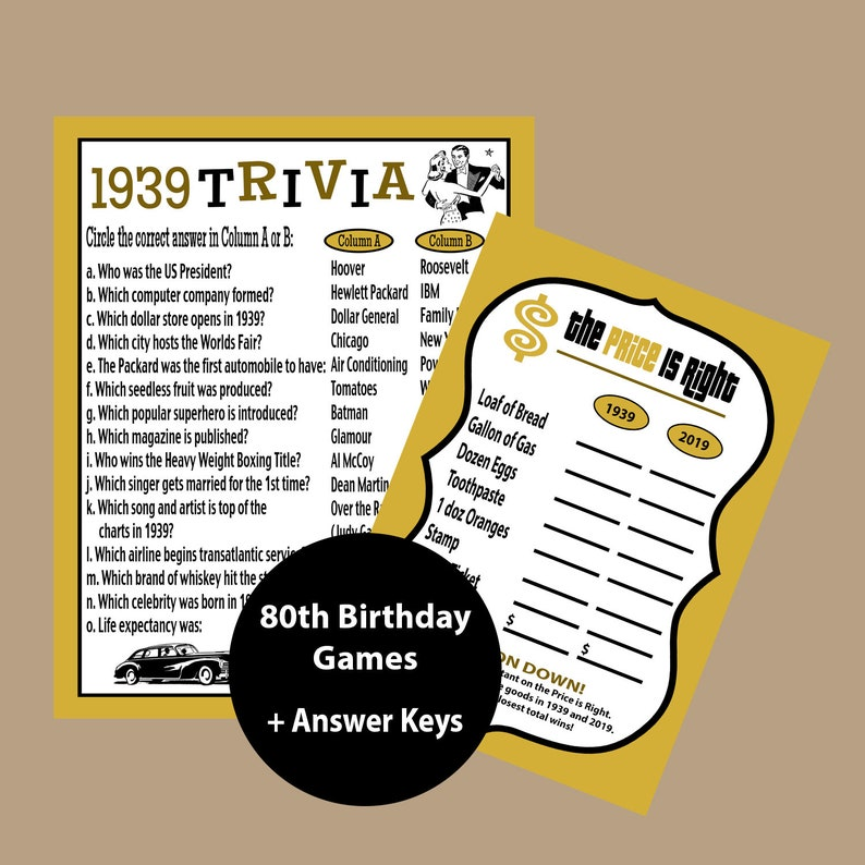 80th Birthday Games Gold And Black Trivia