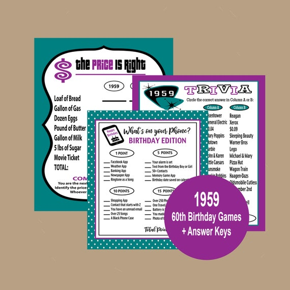 1959 Birthday Trivia Game, Price is Right Birthday Game, Party Trivia Game,  60th Trivia Party Game, Adult Party Games, Instant Download
