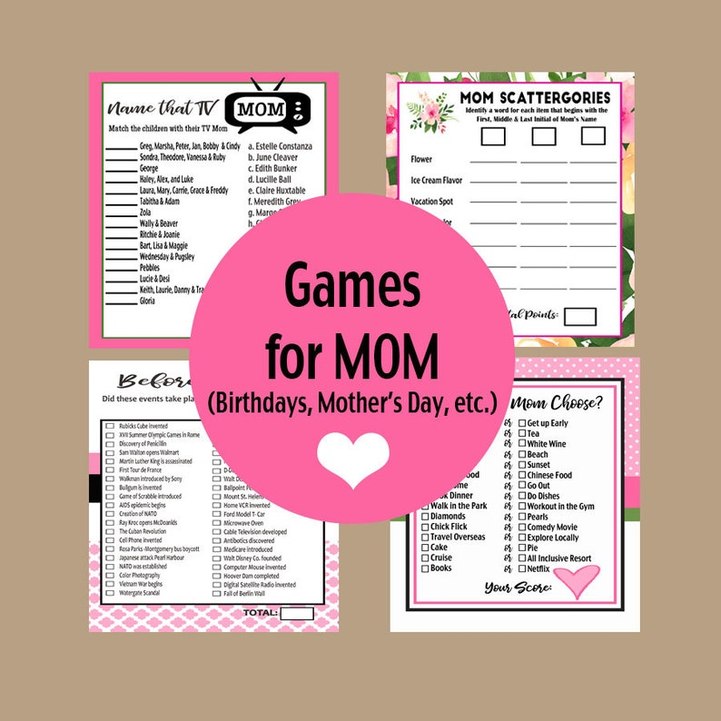 Mothers Day Party Games Mom Birthday