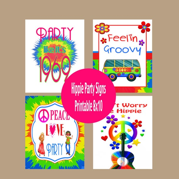 50th Birthday Decorations 50th Birthday Poster Hippie Posters Retro Birthday Decor 1969 Birthday Party Signs Instant Download