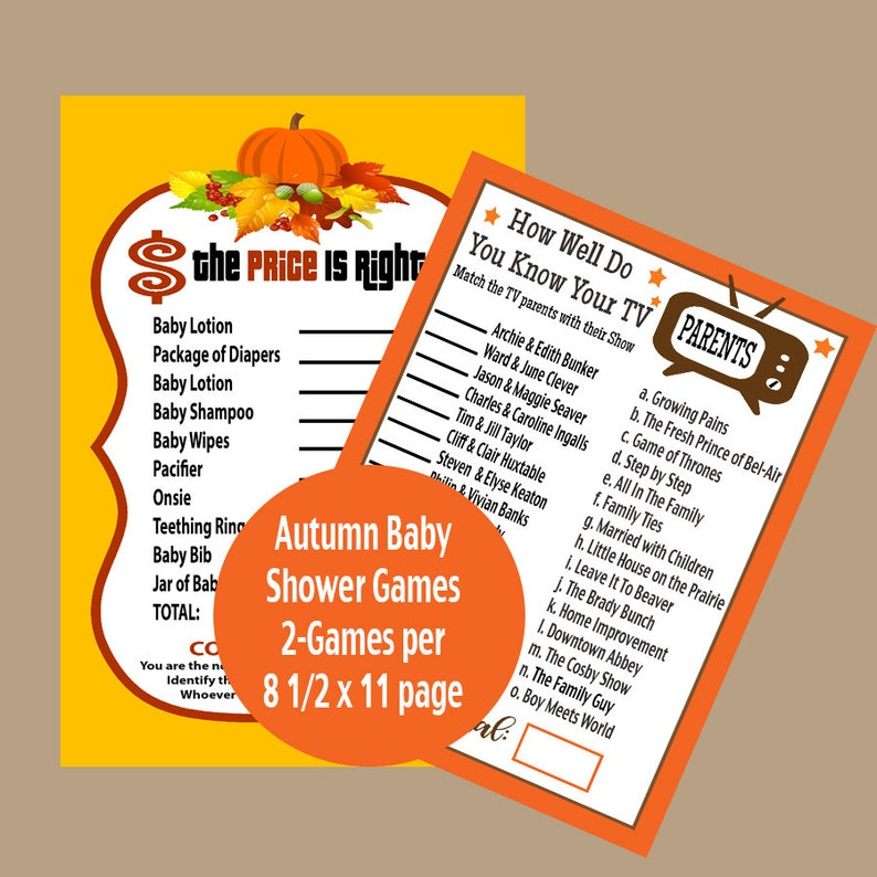 image relating to Autumn Trivia for Seniors Printable known as Autumn Child Shower Game titles, Tumble Little one Shower Trivia Online games, The Charge is Immediately Little one Shower, Tv set Mother and father Trivia Video game Printable, Fast Down load