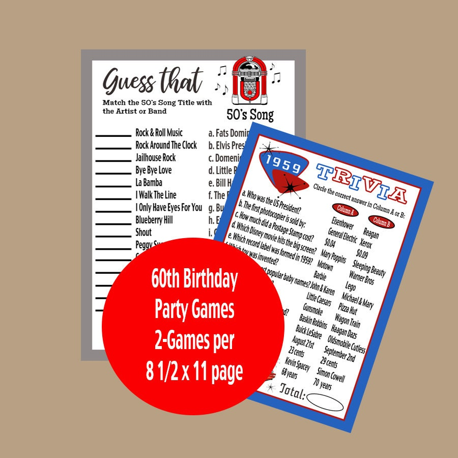 60th Birthday Party Games Adult Party Games 1959 Year
