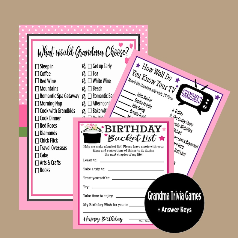 Birthday Party Games Grandma Birthday Party 1929 1934 1939 1949 1959 Party Games Tv Grandmas Game Trivia Games Instant Download
