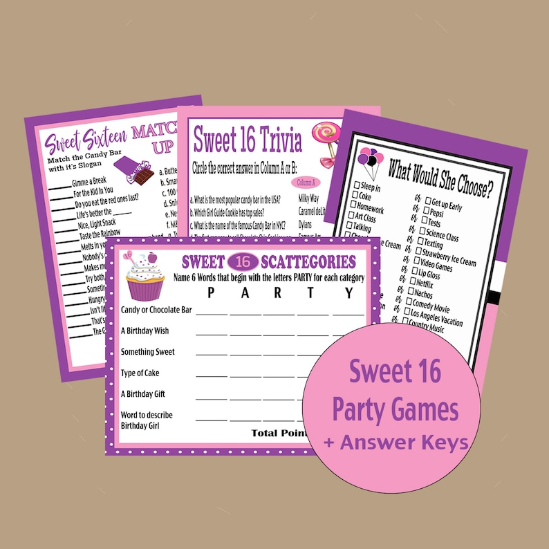 Sweet 16 Birthday Party Games, Sweet Sixteen Party Ideas, Teen Birthday  Games, Birthday Activities,Sweet 16 Trivia Game, Instant Download
