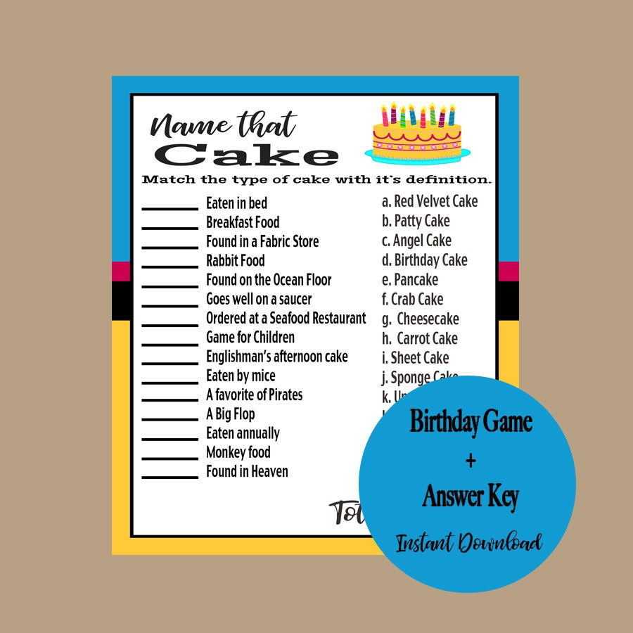 Birthday Party Game Adult Birthday Games 40th 45th 50th