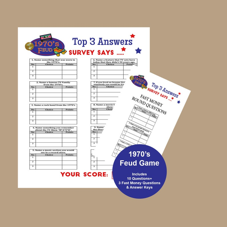 photo regarding Family Feud Questions and Answers Printable Free known as 1970s Loved ones Feud Video game, 70th Birthday Occasion Trivia, 1970s Birthday Bash Topic, 40th Birthday Match, 70s Get together Game titles, Immediate Obtain