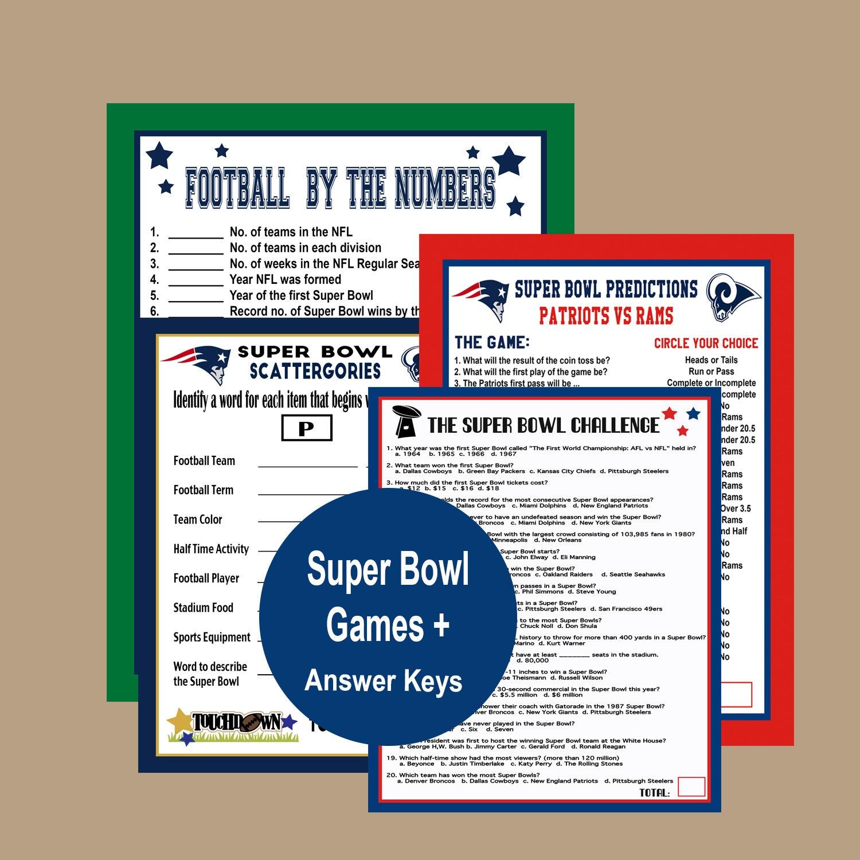 Super Bowl Party 2019, Super Bowl Prop Bets, Super Bowl Odds Game, Super  Bowl Trivia Game, Football Betting Game, Instant Download