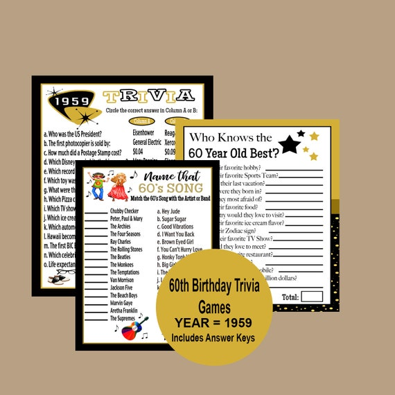 60th Birthday Games 60s Song Trivia Game Who Knows Best
