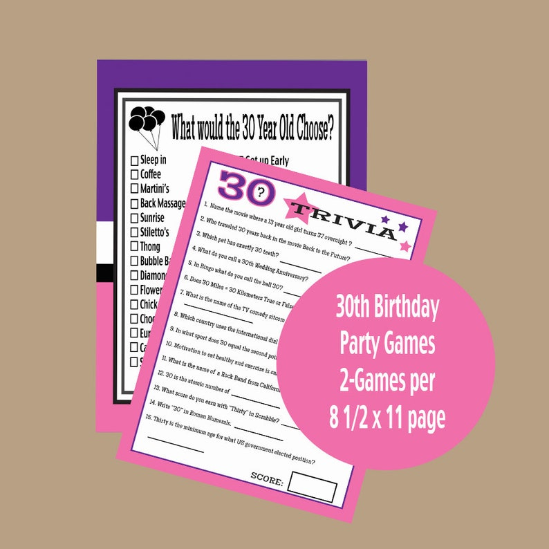 30th Party Games Adult 1989 Year Birthday Trivia