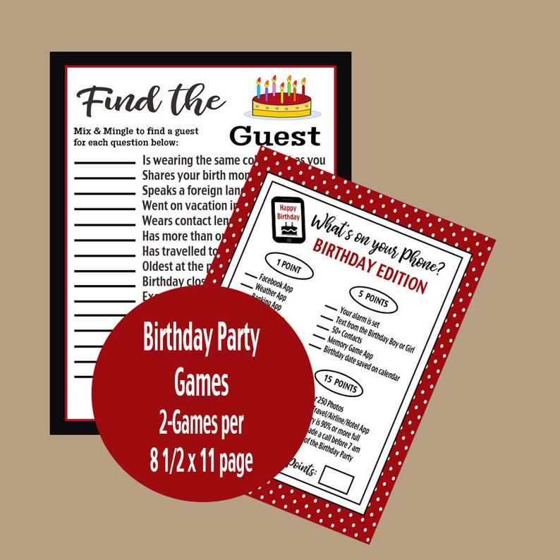graphic regarding Printable Adult Games named Birthday Social gathering Printable Grownup Online games, Identify the Visitor Activity, Whats Upon Your Cellular phone Activity, Grownup Bash Online games, Printable Online games, Fast Down load
