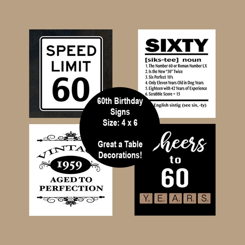 photograph regarding Printable Birthday Signs identified as 60th Birthday Printable Desk Celebration Indicators, 60 Birthday Occasion Decorations, 1959 Birthday, Cheers toward 60 Yrs, Instantaneous Down load