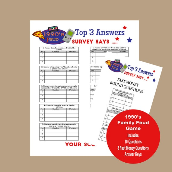 It is an image of Family Feud Questions and Answers Printable regarding survey