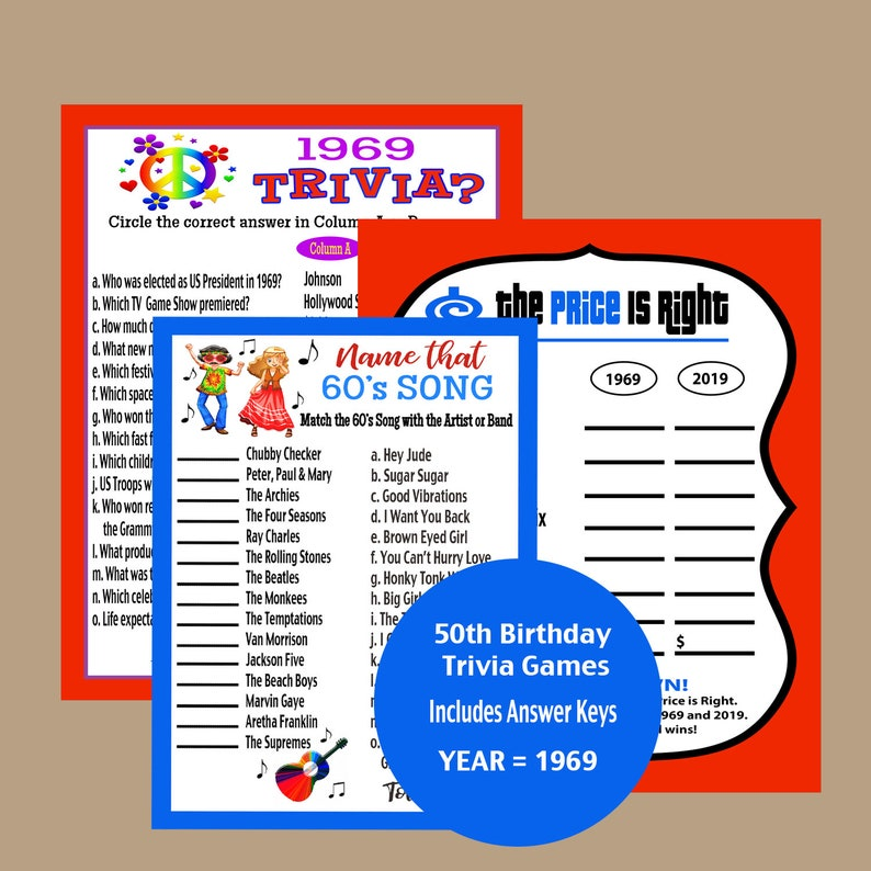 2e32253d8970c 50th Birthday Games, 1969 Birthday Games, Icebreak Party Games, Adult Party  Games, 50 Birthday Trivia Games, Instant Download