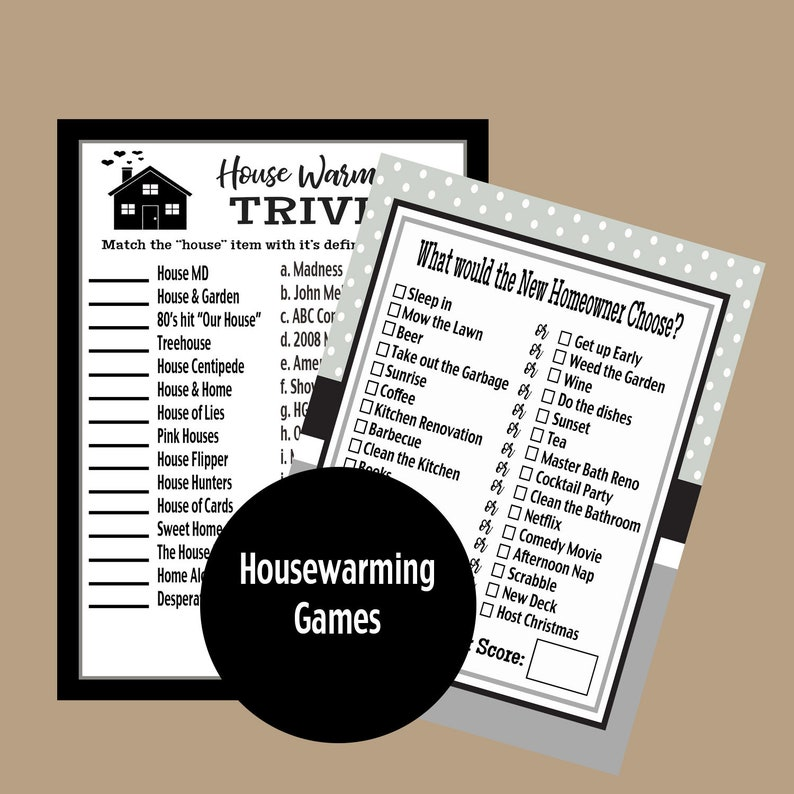 image about Printable Housewarming Games referred to as Housewarming Social gathering Trivia Video games, Housewarming Celebration, Refreshing Household Trivia Match, Grownup Occasion Game titles, Printable Activity, Immediate Obtain