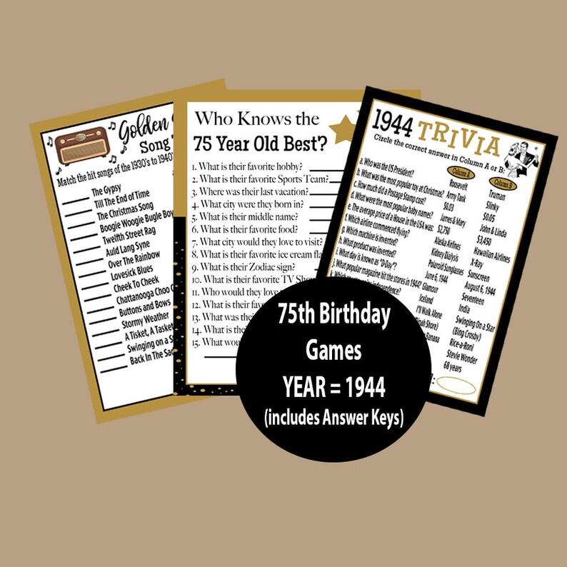 3cd5404e9 1944 Trivia Game 1944 Birthday Party 75th Birthday Party | Etsy