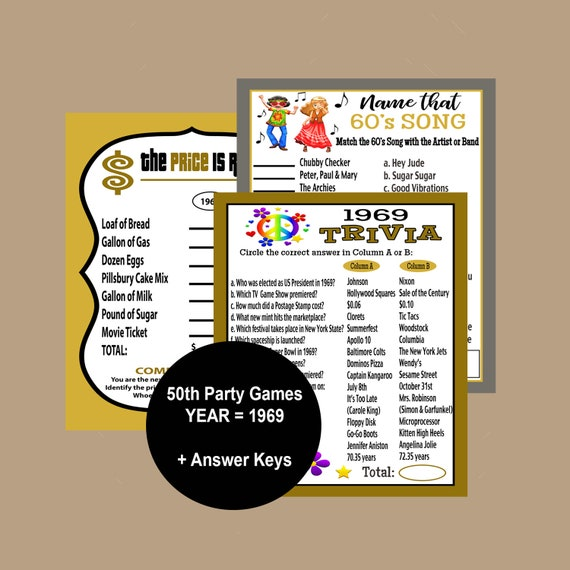171394c80c9cc 50th Birthday Party Games, 1969 Trivia Games, Icebreak Party Games, Gold  and Black Party Games, 50 Birthday Trivia Games, Instant Download