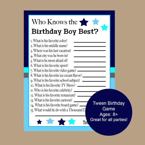 Who Knows The Birthday Boy Best Game Teen Birthday Games Etsy