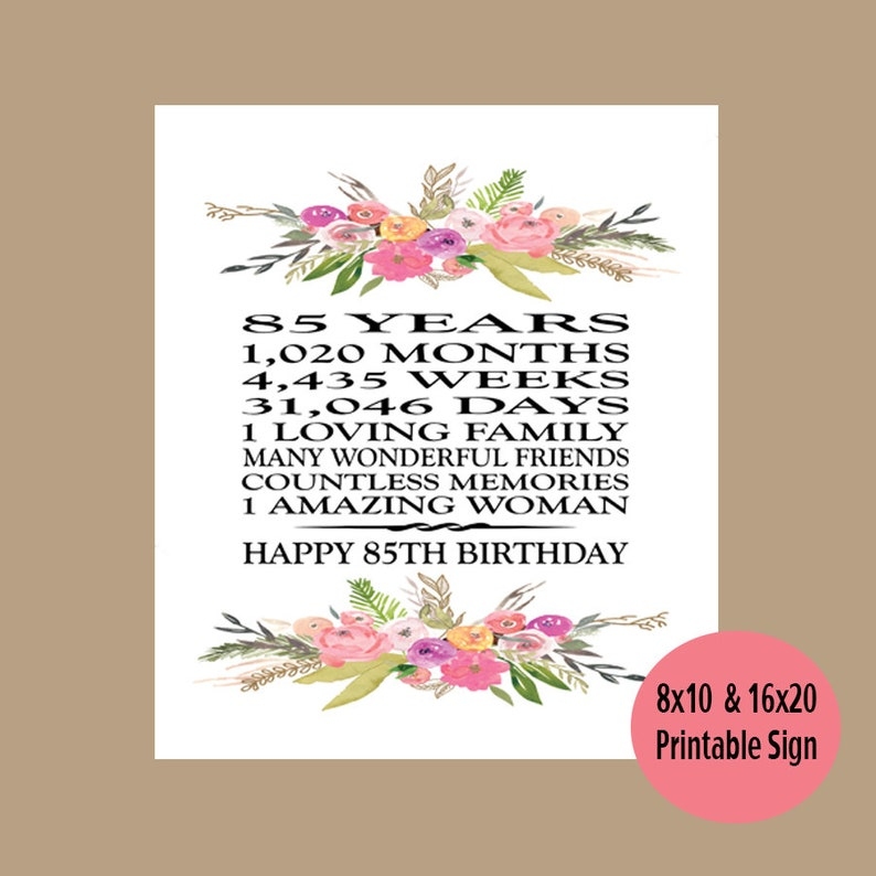 85th Birthday Gift Printable