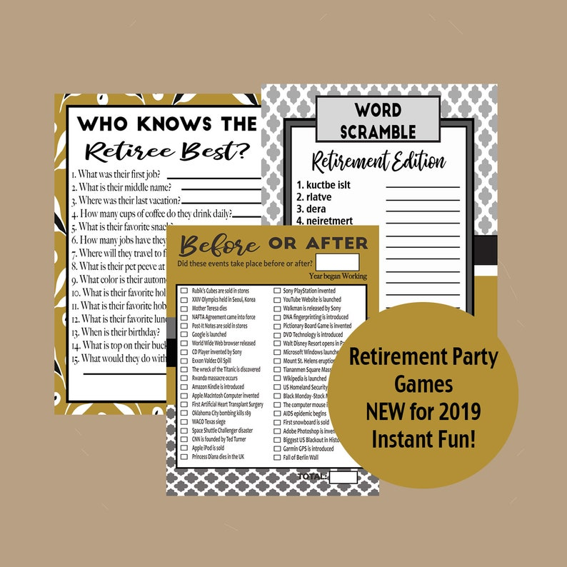 graphic regarding Retirement Party Games Free Printable named Retirement Game titles, Retirement Celebration, Retirement Trivia, Retiree Get together, Retirement Social gathering Pleasurable Suggestions, 2019 Retirement Online games, Immediate Obtain