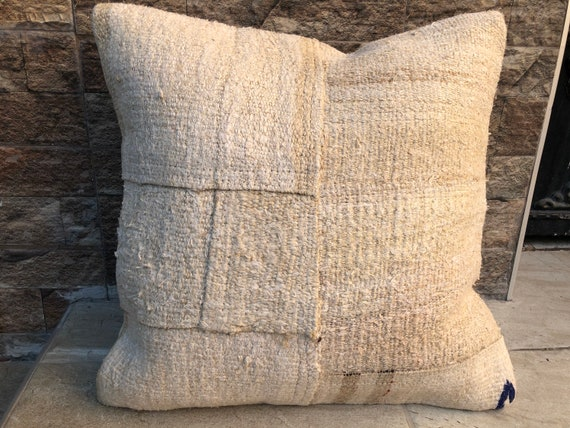 Vintage Home Decor  Pillow Hand Made Hemp Pillow Turkish Kilim Hemp Pillow,Patcwork Pillow Kilim Pillow 20x20 Inches,Pillow Cover Rug