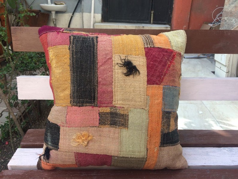 Wool  Pillow Patchwork Vintage Home Decor Rug Turkish Pillow,20x20 Inches Pillow Cover Rug Hand Made Pillow Rug Cushion Rug Kilim Rug