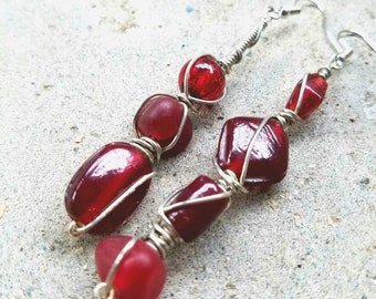 For the love of Red! Asymmetrical Monochromatic Wire WRAPPED glass bead earrings by 7beadsstudio