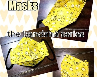 3D Face Mask with Built In Filter Set of 2 Adult Cotton Masks in White Bandana and in Blue Denim