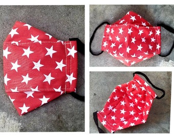 3D Face Mask with Built In Filter Set of 2 Adult Cotton Masks in Red with White Stars Bandana and in Blue Denim
