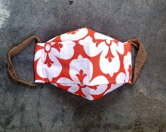 3D Linen Mask with Built In Filter in Bright Tangerine Floral Linen and Bronze Linen Set of 2