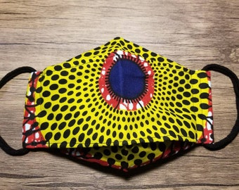 3D Linen Mask with Built In Filter in African/Dutch Pattern Cotton