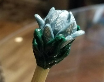 Polymer Clay Floral Chopsticks turned Knitting Needles by 7beadsstudio