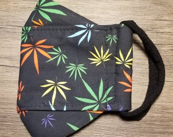3D Face Mask with Built In Filter Multi Color Marijuana Leaf Adult Cotton Mask  by 7beadsstudio