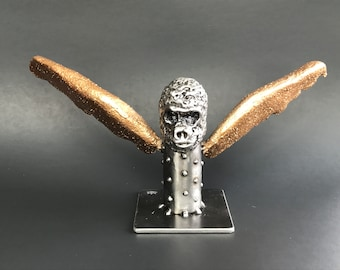 "Sculpture ""Drone"" -  Welded Reclaimed Steel with Golden Concrete Wings (structolite) -FREE SHIPPING-Signed 'one of a kind' Art"