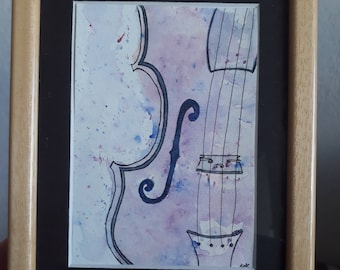 Unique watercolor hand-made on the violin