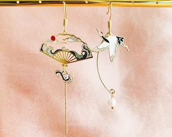 Enamel White Crane With Clouds and Waves Japanese Fan Asymmetrical Dangled Drop Earrings, Handmade Earrings, Taoism Earrings