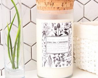 Green Tea + Lemongrass|organic soy candle| all natural fragrance|essential oils|16oz