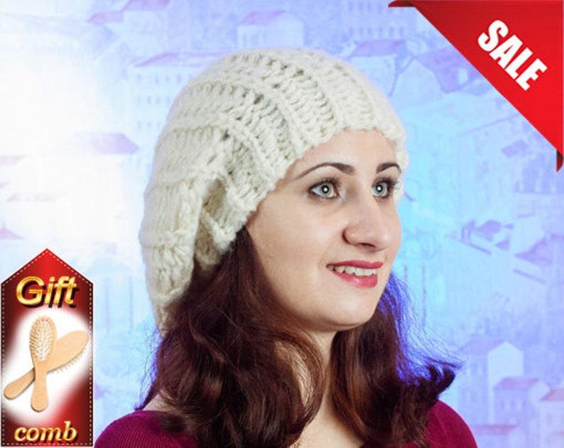 Hand knitten hat Mustard knit hat beanie Knit beret Winter slouchy hat Warm wool beret Chunky hat Knit tam hat Winter women beret