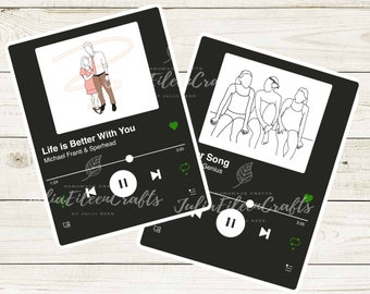 Custom Spotify Song Sticker with Outline Drawing